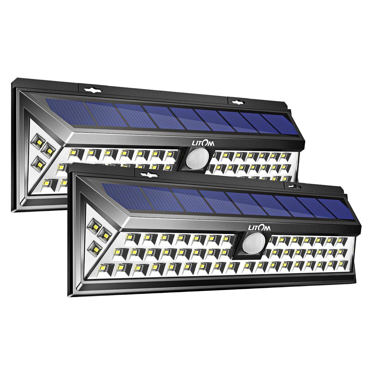 Litom 3RD-GEN Plating Solar Lights Outdoor, Super Bright Security Solar Wall Lights with Motion Sensor 54 LED for Patio, Garage, Garden, Balcony, RV(2 Pack)