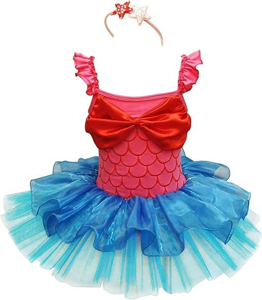 IEFIEL Disfraz Princesa Sirena para Niña Bebé Vestido de Danza ...