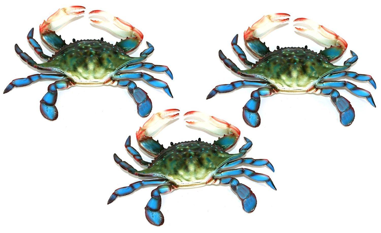 6 inch Maryland Blue Crab Set of 3 Beach Tiki Bar Wall Decor by Charlotte International