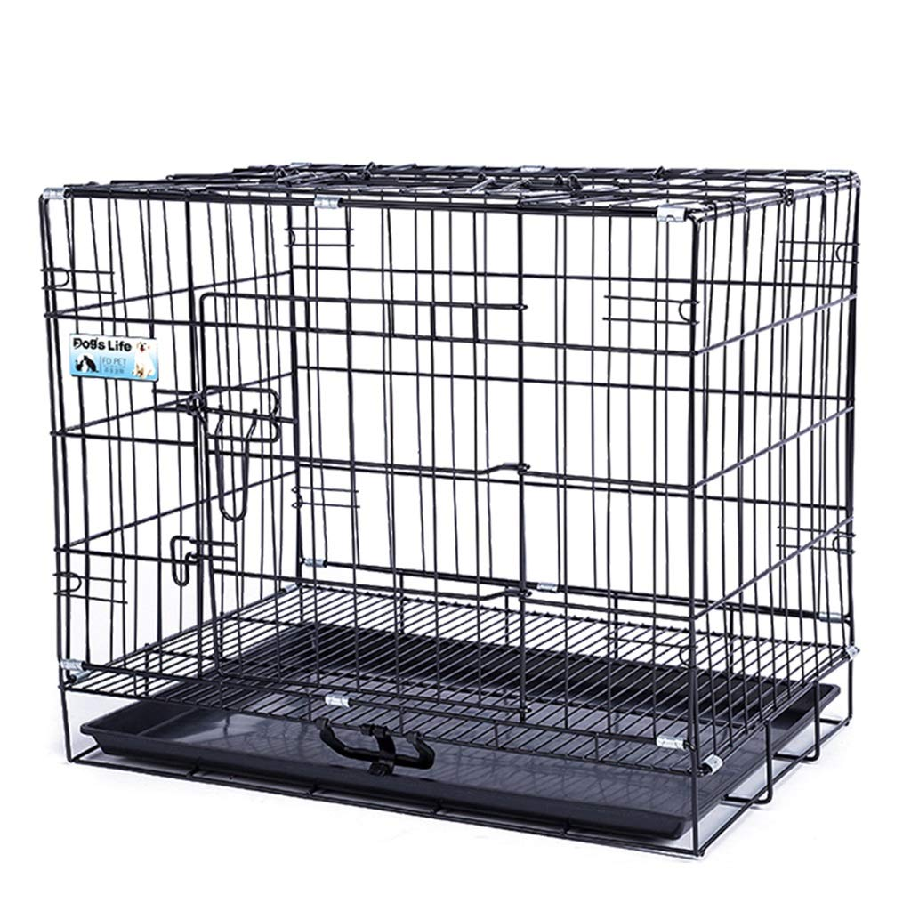 60×42×51cm Folding Metal Dog Crate Pet Cage Puppy Carrier, Black (Size   60×42×51cm)