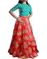 Market Magic World Woman's Banglori Silk Semi-stiched Lehenga Choli (MMW-04092_Free Size_Firozi)