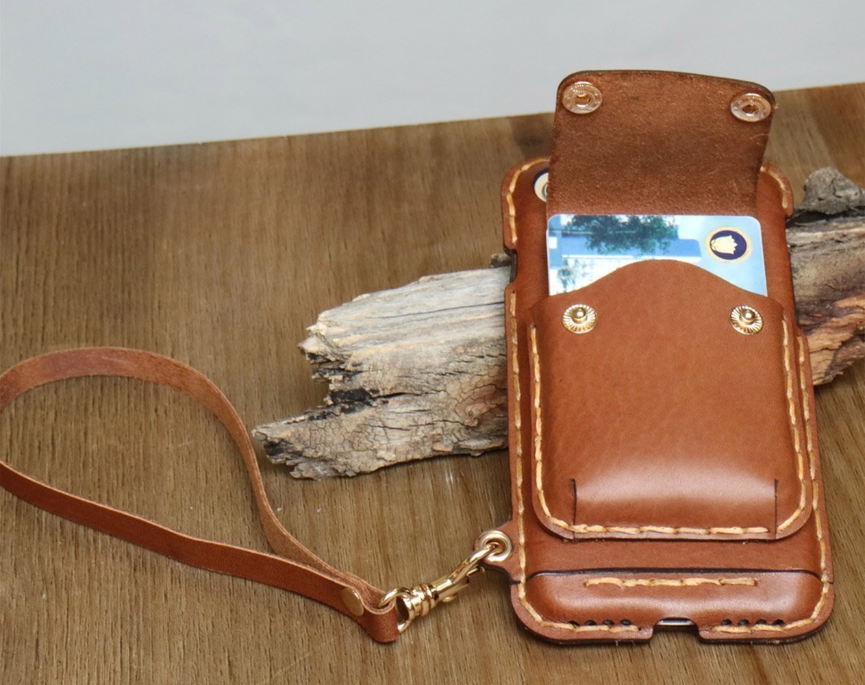 Leather Brown cell phone bag iPhone case cell phone purse small crossbody bag iphone bag cell phone pouch small travel bag cell phone wallet zipper 01WR by PhonePurse