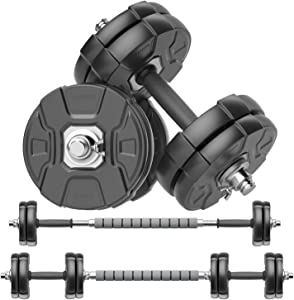 RUNWE Adjustable Dumbbells Barbell Set of 2, 33 44 70 90 100 lbs Free Weight Set with Steel Connector Home Office Gym Fitness Workout Exercises Training for Men Women