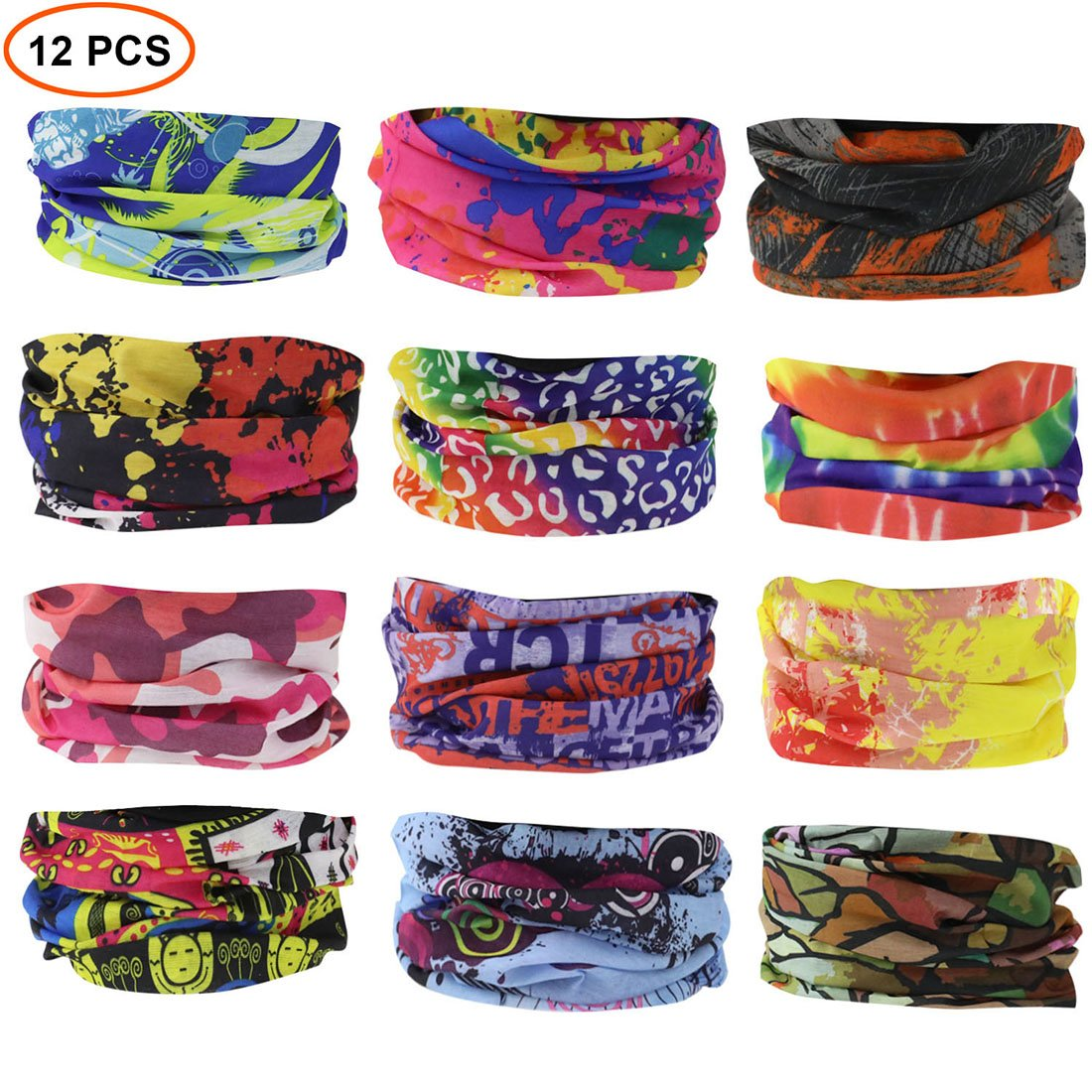 QBStrong 12PCS Bandana Face Mask, Elastic Seamless Headband Scarf with UV Resistence for Men Women Kids for Fishing Cycling Running