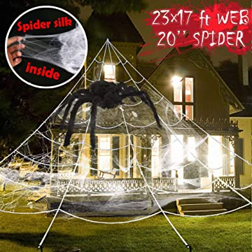Giant Halloween Yard Decorations Outdoor Spider Web with Big Spider and Stretch Cobweb Set Party Outside Decor Favor Triangular Mega Web 23 x 17 ft