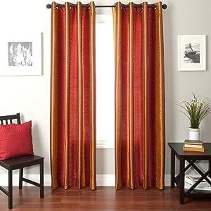 Softline Home Fashions Fantasy Series Faux Silk Window Panel/Treatment/Drape/Curtain, Red/Gold, 55 x 84