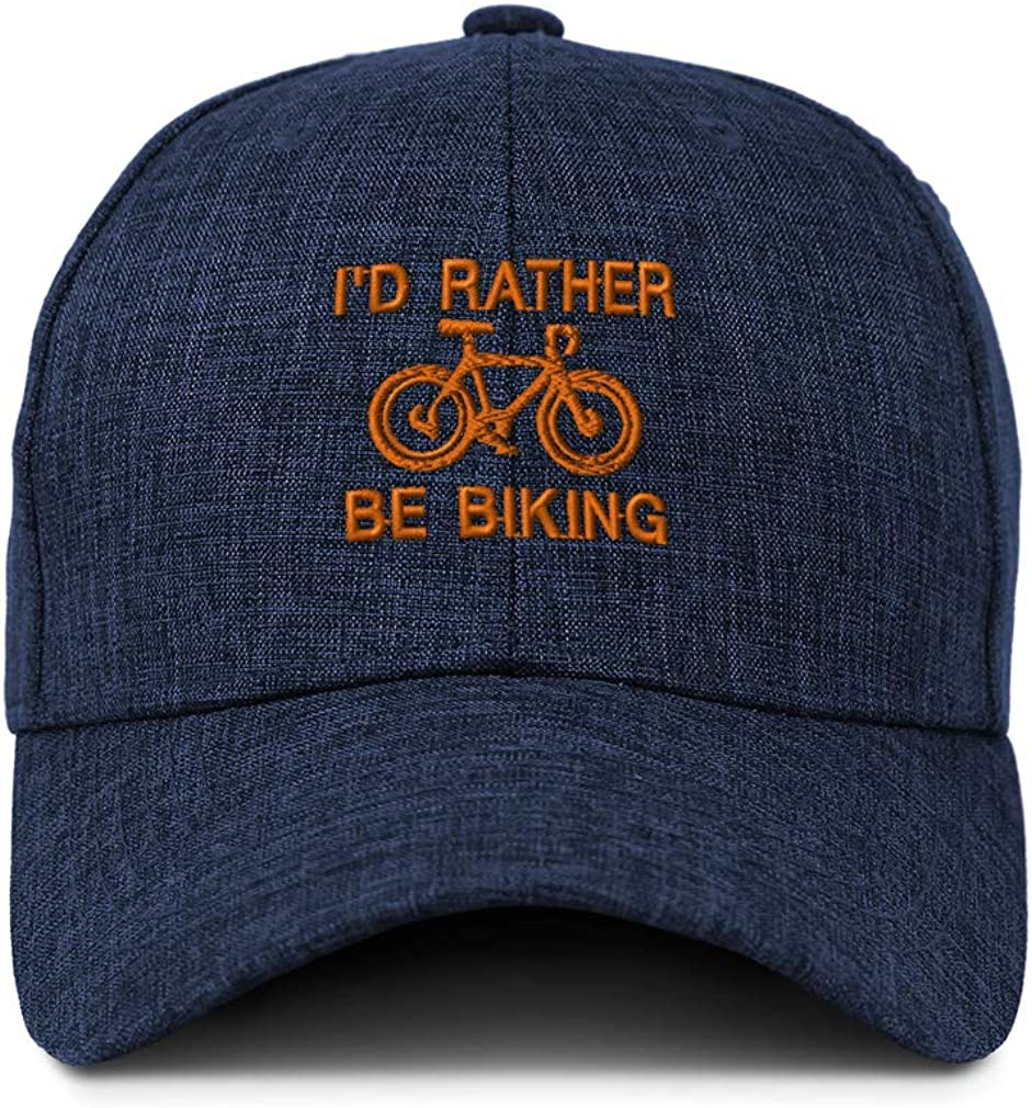 Custom Baseball Cap Id Rather Be Biking Embroidery Casual Hats for Men /& Women