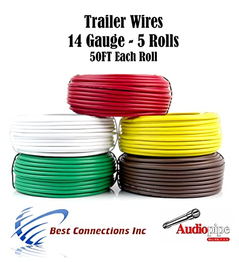 amazon com trailer light cable wiring for harness 50ft spools 14 rh amazon com 4 Gauge Wire Classic Car Wiring Harness