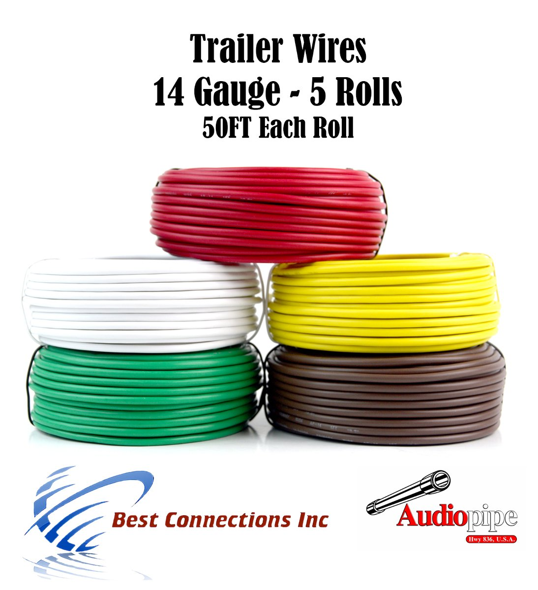 Trailer Light Cable Wiring For Harness 50ft spools 14 Gauge 5 Wire 5 colors