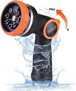 TACKLIFE Garden Hose Nozzle/Spray Nozzle 8 Patterns No-Squeeze Sprayer/High Pressure/Flow Control 0-max/Suitable for Car Washing, Garden Watering, Pets Showering丨GHN2A