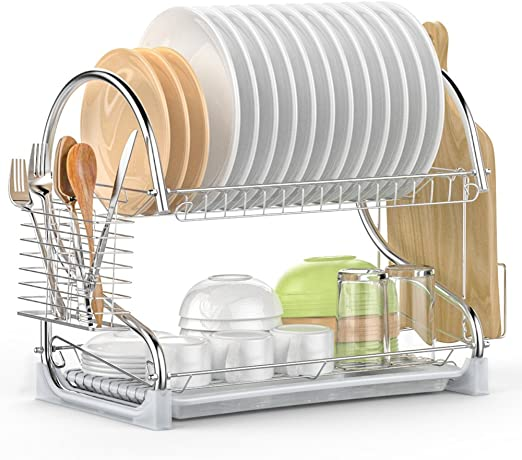 Amazon Com Dish Drying Rack Ispecle 2 Tier Dish Rack With