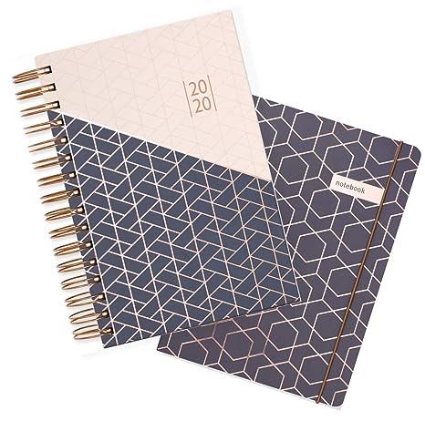 Matilda Myres 2020 - Agenda (A5, año rosa, con páginas por día), color Grey Gift Set A5