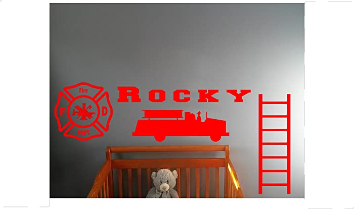 Amazon.com: Personalized Name Little firefighter fireman Wall Decal ...