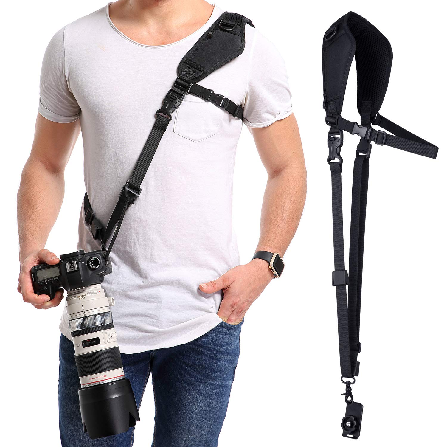 waka Camera Neck Strap with Quick Release, Safety Tether and Underarm Strap, Adjustable Camera Shoulder Sling Strap for Nikon Canon Sony Fuji DSLR Camera, Black by waka