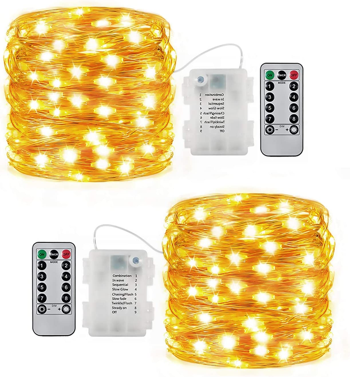 Fairy Lights Battery Operated Christmas String Lights Remote Control Timer Twinkle String Lights 8 Modes 16.4 Feet 50 LEDs Copper Wire Firefly Lights - 2 Set