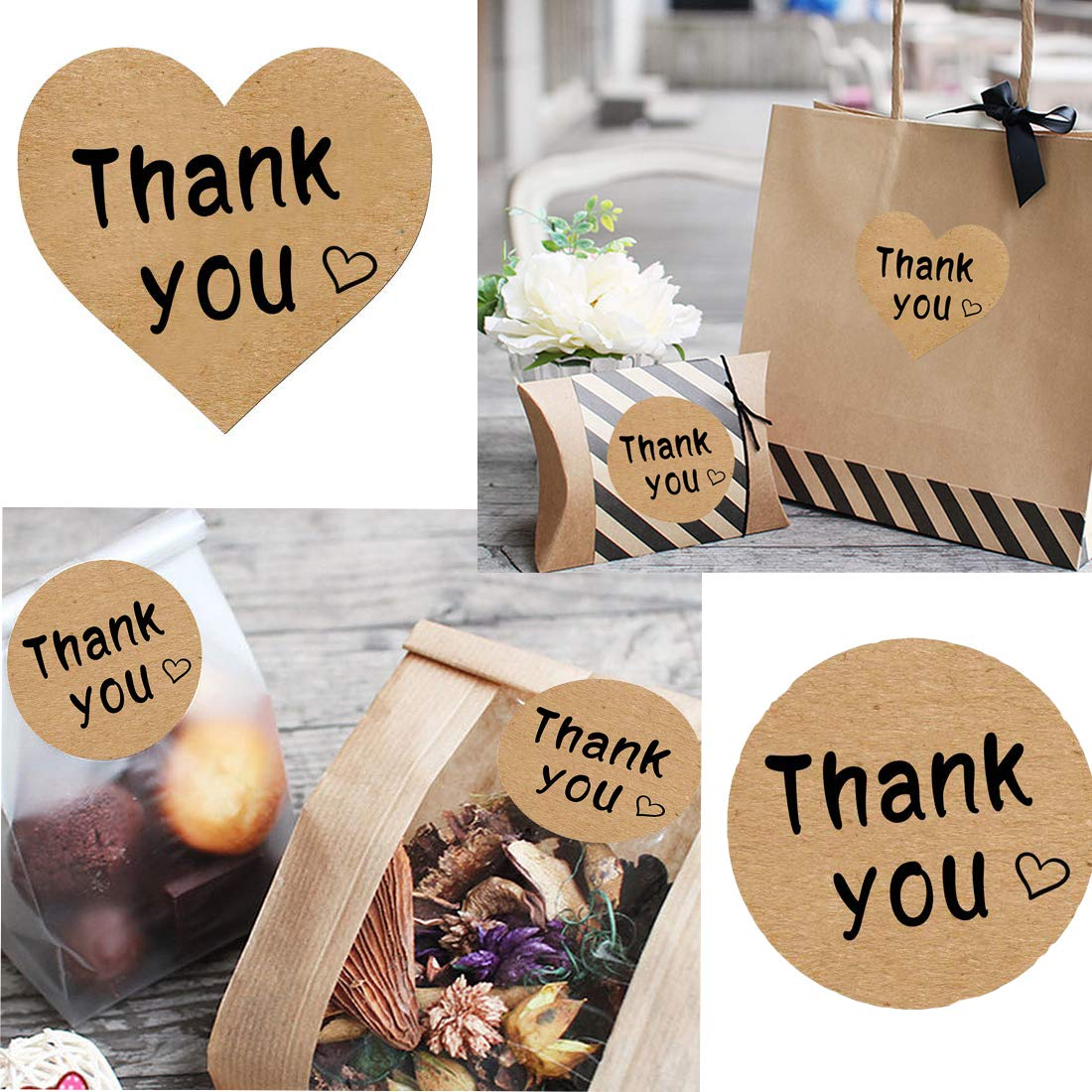 Thank You Stickers Roll 1000pcs Adhesive Labels Kraft Paper with Black Hearts, Decorative Sealing Stickers for Christmas Gifts, Wedding, Party by Vinkki (Image #1)