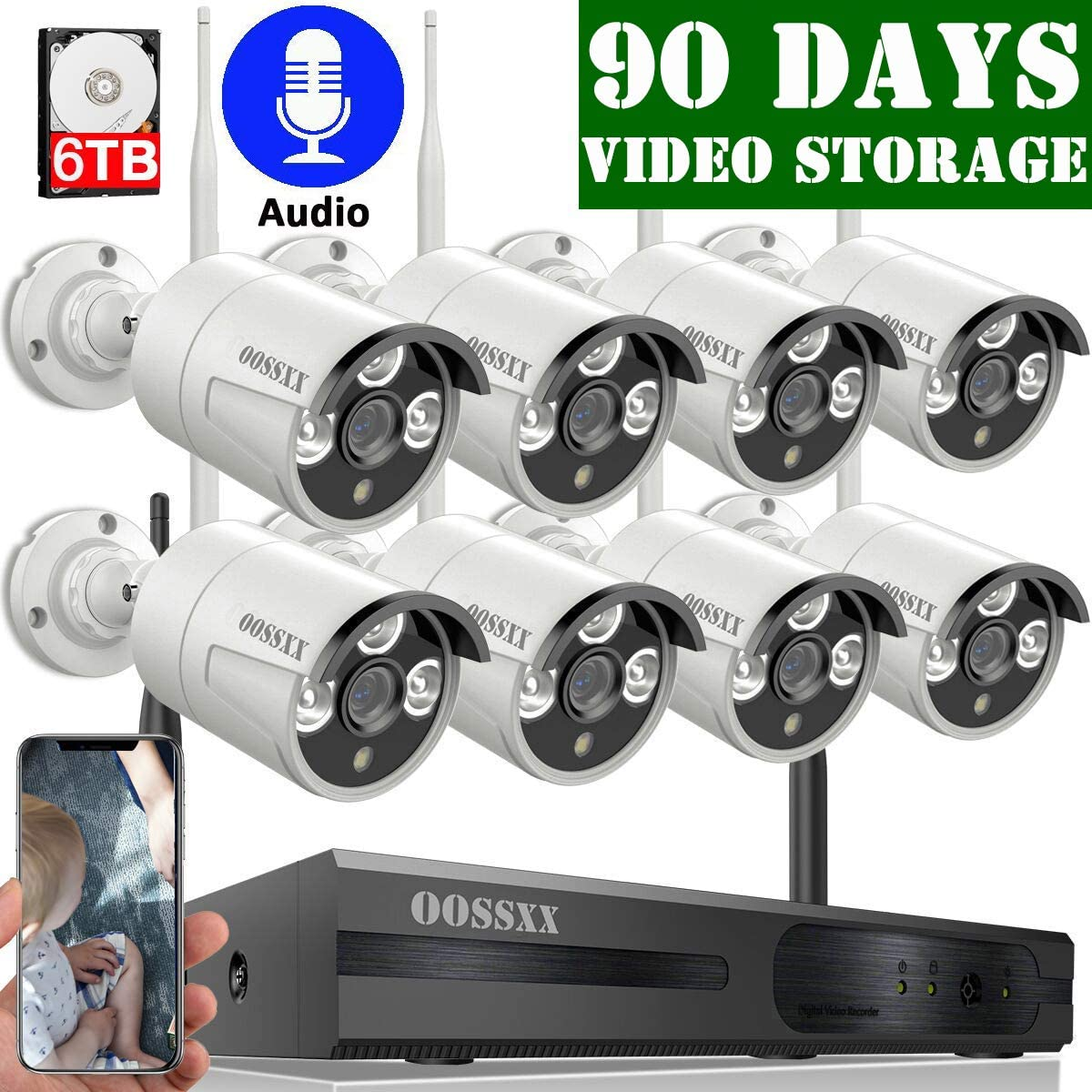 6TB HDD Pre-Install OOSSXX 8-Channel HD 1080P Wireless Security Camera System,8Pcs 1080P 2.0 Megapixel Wireless Indoor Outdoor IR Bullet IP Cameras with One-Way Audio,P2P,App, HDMI Cord