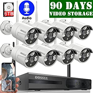 ?6TB HDD Pre-Install ? OOSSXX 8-Channel HD 1080P Wireless Security Camera System,8Pcs 1080P 2.0 Megapixel Wireless Indoor/Outdoor IR Bullet IP Cameras with One-Way Audio,P2P,App, HDMI Cord