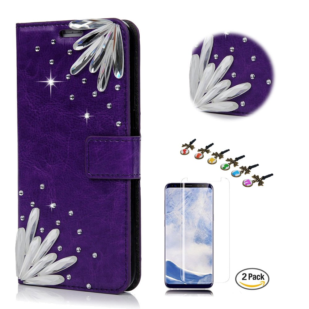 STENES Galaxy S8 Active Case - STYLISH - 3D Handmade Crystal Pretty Stones Wallet Credit Card Slots Fold Media Stand Leather Cover for Samsung Galaxy S8 Active with Screen Protector - Dark Purple