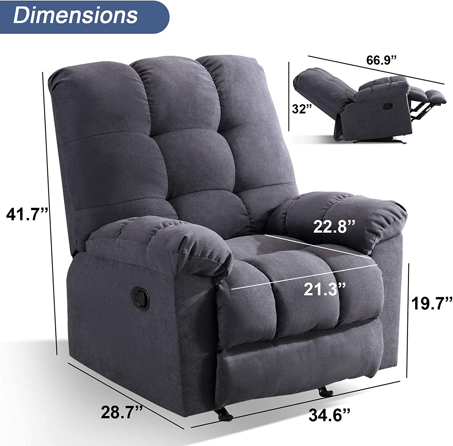 ANJ Rocker Recliner Chair Adjustable Overstuffed Fabric Manual Reclining Chair Soft Contemporary Sofa for Living Room(Navy)