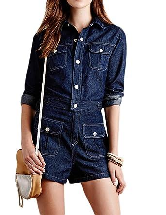 66a4c8b78f50 haoduoyi Women Long Sleeve Denim Jeans Jumpsuit Bodysuit Romper Playsuit (S)