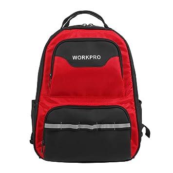 WORKPRO Mochila para Herramientas Bolsa Organizador de Laptop 42 Bolsillos con Banda Reflectiva: Amazon.es: Bricolaje y herramientas
