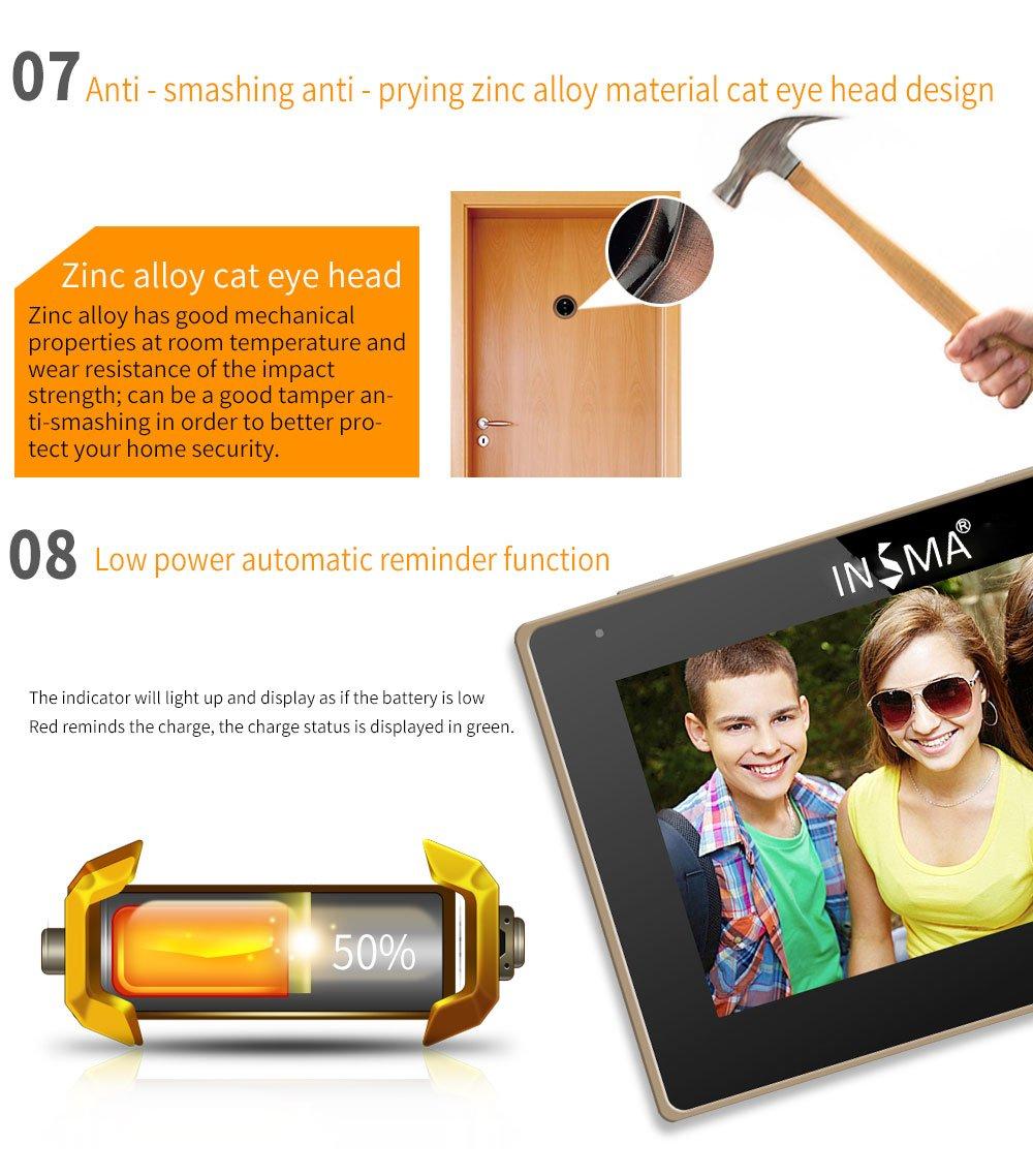 3.5 inch T/ürspione INSMA/® T/ürkamera Unterst/ützung Foto und Video aufnehmen und Bewegungserkennung f/ür Unterst/ützt 35~110mm T/ürst/ärken