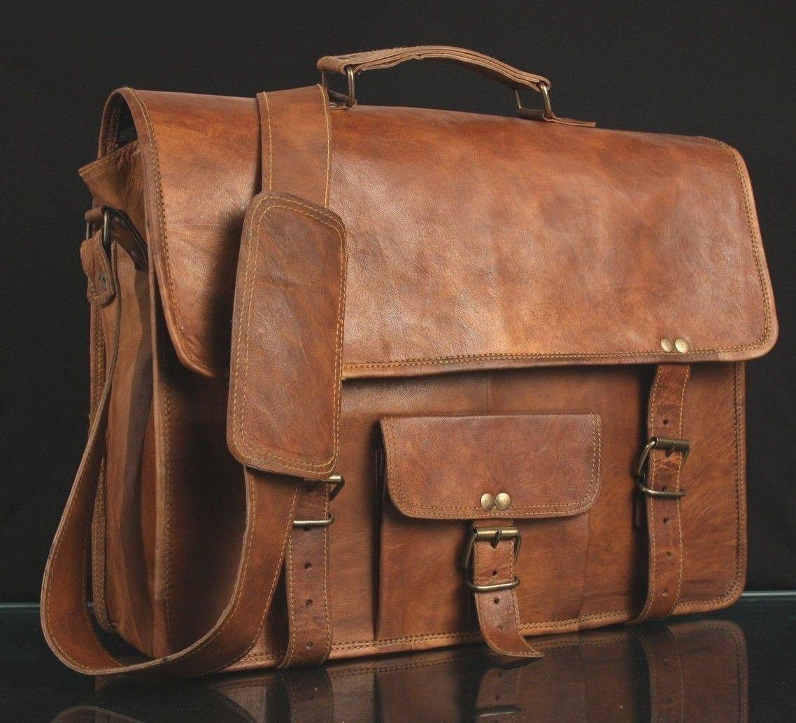 Satchel des hommes de cuir véritable Vintage Messenger Man Porte documents Sac pour ordinateur portable HandBag