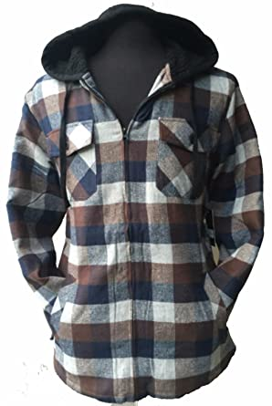 090dcfd0a0d Big   Tall Men s Full Zip Hooded Flannel   Sherpa Lined Long Sleeve Soft  Fabric Warm Hoodie Jacket at Amazon Men s Clothing store