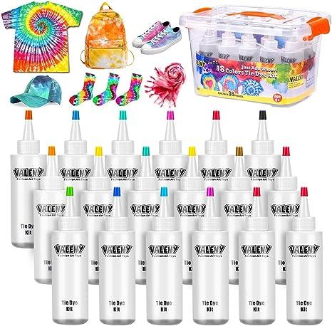 18 Colores Tie Dye Kit 120ML Vibrantes Tintes Para Tejidos Conjunto Tinte Tie de un Solo Paso Camisa Tela Tinte Duministros No Tóxicos Moda de ...