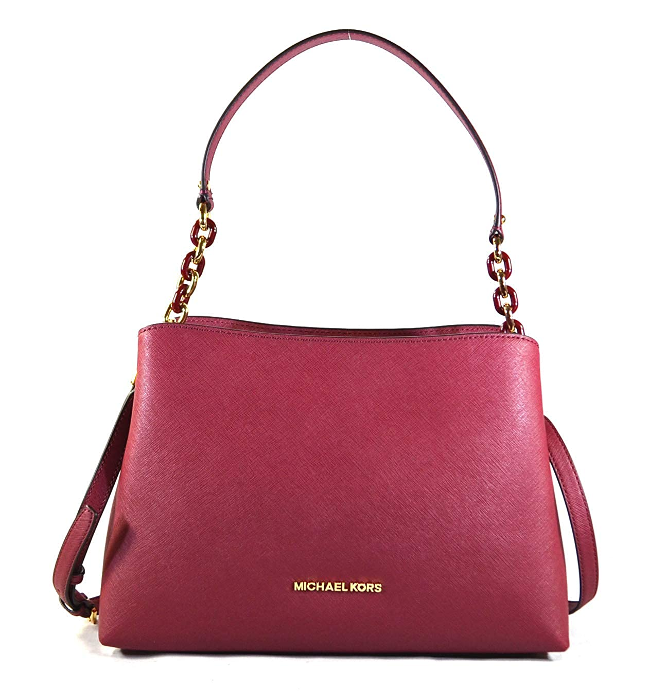 e60fd10c35be3 Amazon.com  Michael Kors Sofia Large East West Saffiano Leather Satchel  Crossbody Bag Purse Tote Handbag (Fawn)  Shoes
