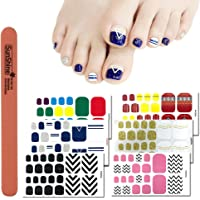 WOKOTO 6 Sheets Self-Adhesive Toe Nail Stickers Wrap For Women And 1Pc Nail File Solid Wave Line Design Toe Nail Polish Strips Decals Kit