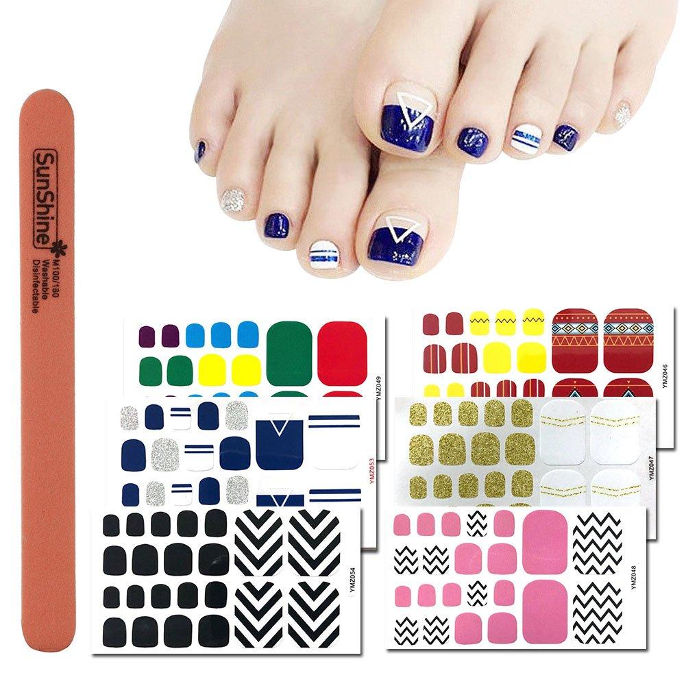 WOKOTO 6 Sheets Self-Adhesive Nail Polish Wraps For Toes And 1Pc Nail File Shinny Solid Silver Stickers Toe Nail Polish Strips For Women Girl Kids Hengxing
