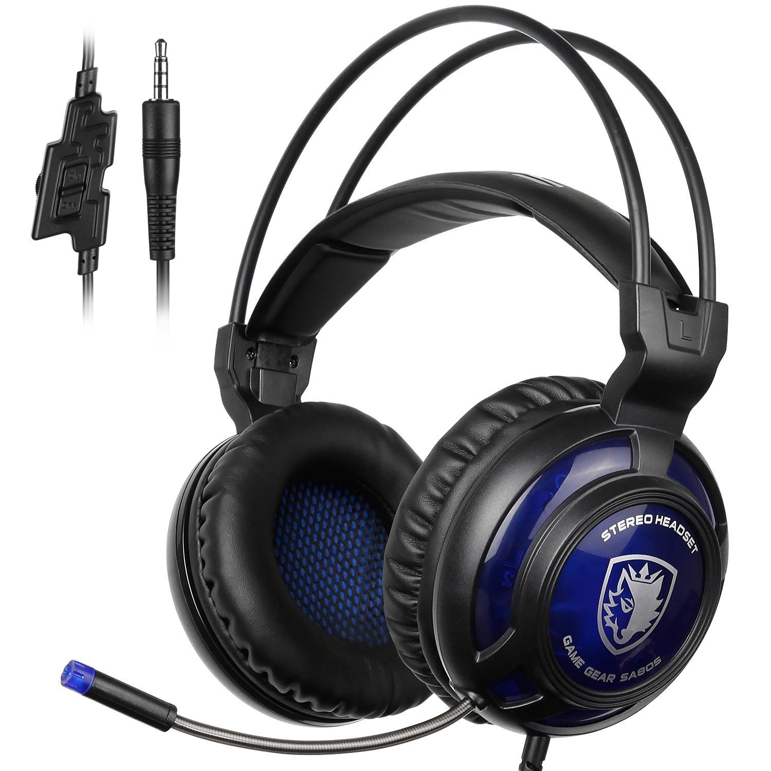 SADES New Arrival SA805 Wired Over-ear Stereo Gaming Headset with Microphone Controller Noise-reduction for PS4/New Xbox One/PC Computers/Mac/Phones/Tablet (Black Blue)
