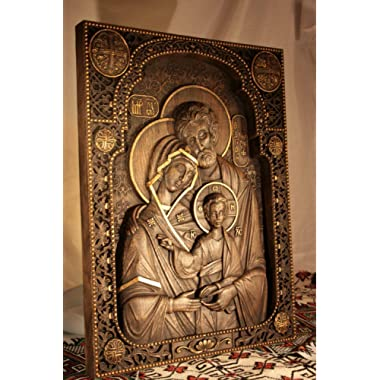 Holy Family Wood Carved Religious Nativity Icon Christian Gifts Wedding Anniversary gifts housewarming gifts Wall Hanging Art Work