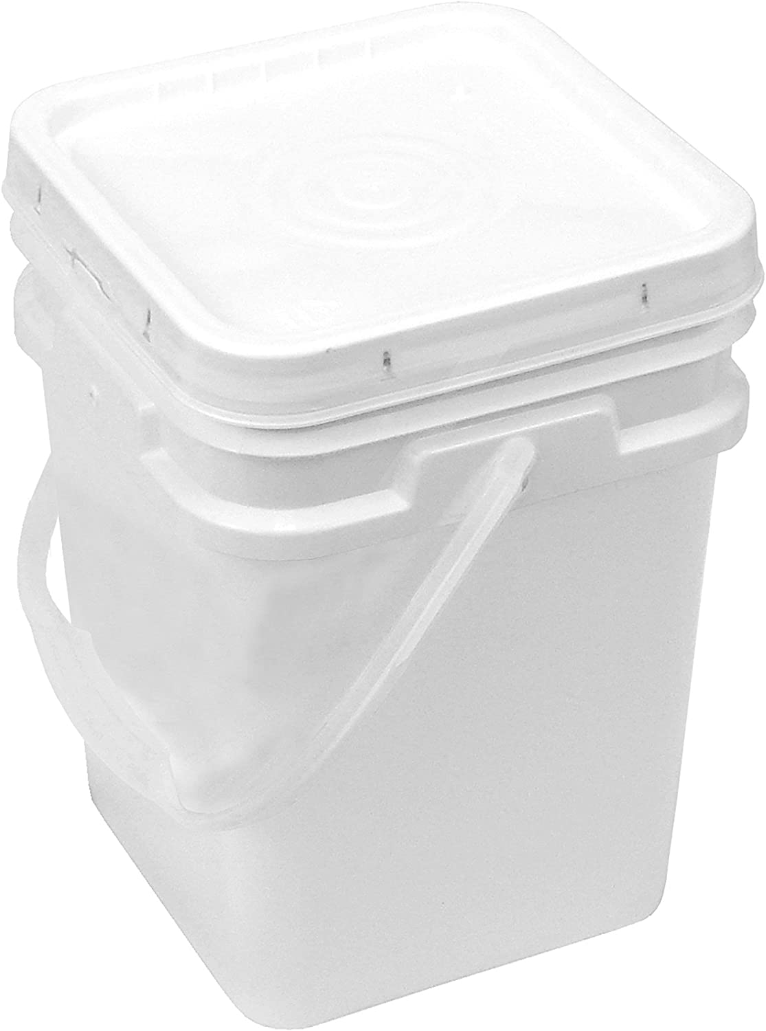 Square Bucket 4-Gallon Bucket with White Snap-on Lid with Gasket