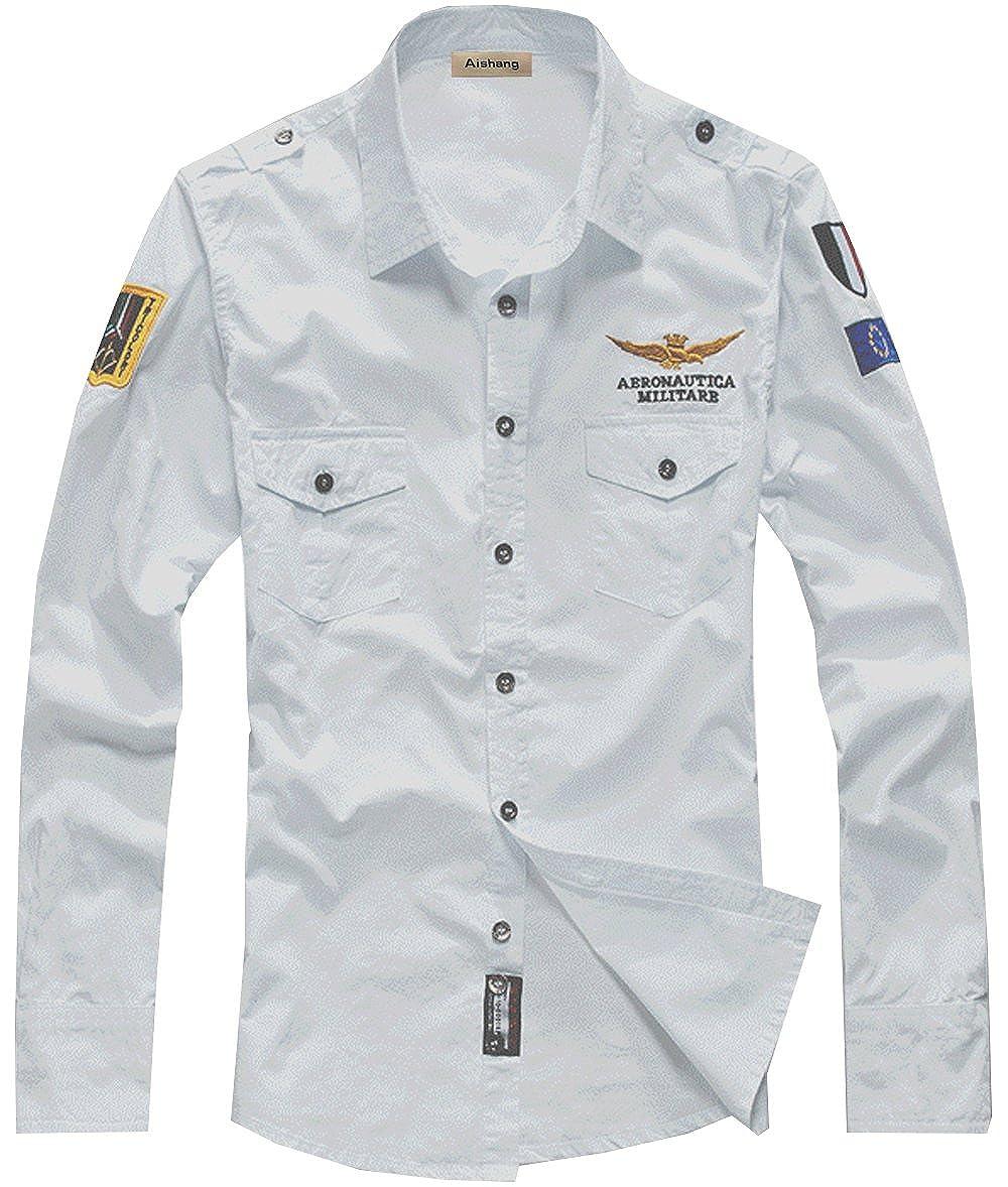 SWORLD Mens Badges Embroidery patch Pilot Air Force Uniform long Sleeve Dress Shirt