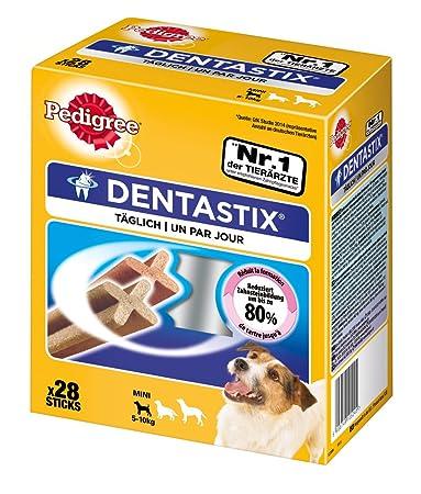 Pedigree Hundesnacks Hundeleckerli Dentastix Mini Tägliche Zahnpflege für kleine Hunde <10kg, 28 Sticks (1 x 28 Sticks)