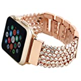 FresherAcc Apple Watch Bands Bling CZ Crystal Diamond Loop Replacement Strap for Iwatch Series 2 Series 1 Sport Edition Nike+ Hermes