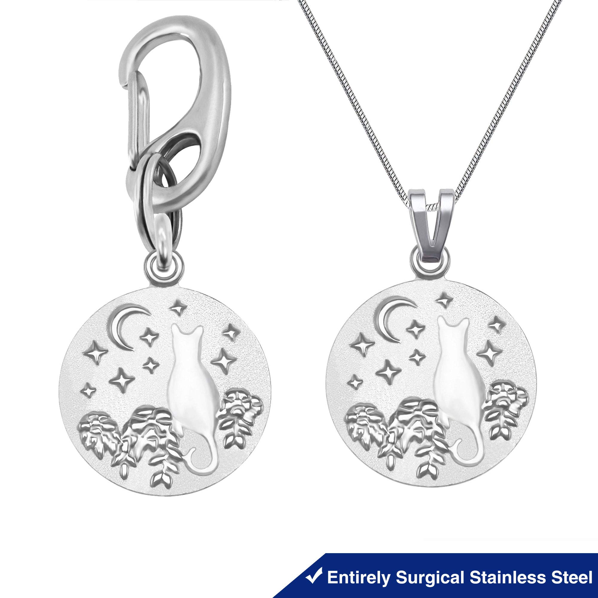 Divoti Deep Custom Laser Engraved Stainless Steel Star Moon Cat Tags - Cat ID Tag & Cat Owner's Necklace Combo- up to 4 Lines of 20-Character Text. by Divoti