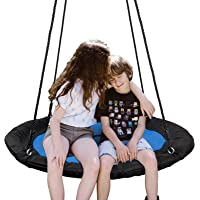 """SUPER DEAL 40"""" Waterproof Saucer Tree Swing Set - 360 Rotate° - Attaches to Trees or Existing Swing Sets - Adjustable Hanging Ropes - for Kids, Adults and Teens (Blue)"""