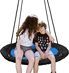 "SUPER DEAL 40"" Waterproof Saucer Tree Swing Set - 360 Rotate° - Attaches to Trees or Existing Swing Sets - Adjustable Hanging Ropes - for Kids, Adults and Teens (Blue)"