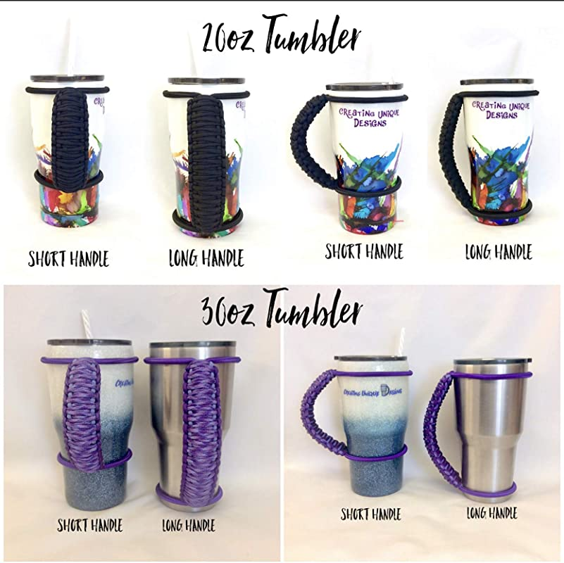 Acid purple camouflage lavender handmade colored bungee paracord strong durable handle for custom and insulated tumblers made to fit most 20 30 32 40 oz
