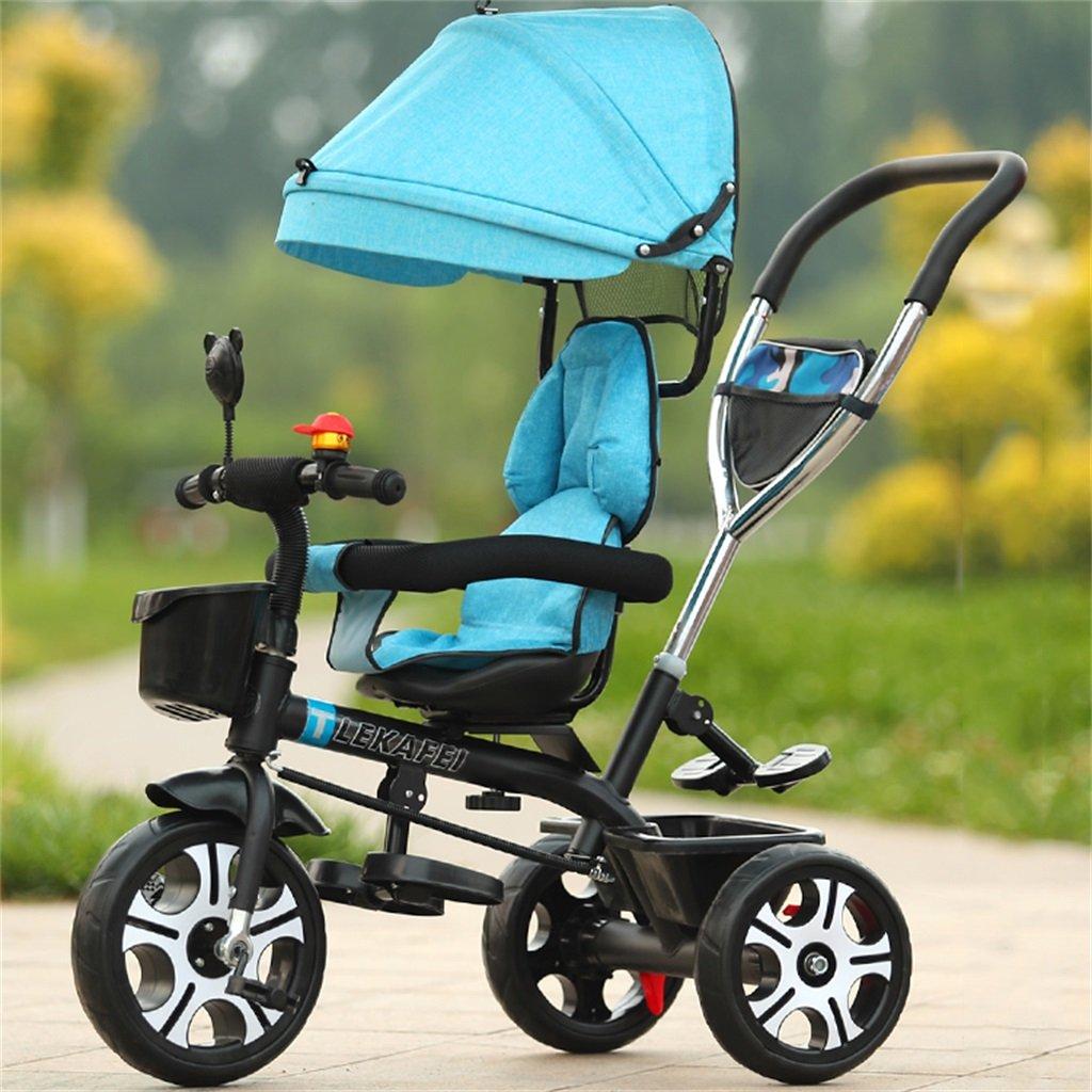 Multi-propósito 4-en-1 Niño Triciclo Sport Versión Kid Trolley Empuje Mango Stoller Bicicleta con Anti-UV Toldo y Parent Handle   para 1-3-6 años de edad Niño y niña Bebé   Asientos giratorios   Ruedas de a