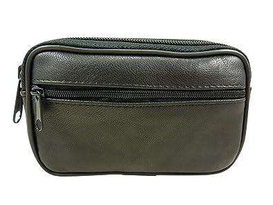 702a15ca1f64 Sacoche ceinture double poche en cuir d agneau Noir TU  Amazon.fr   Chaussures et Sacs