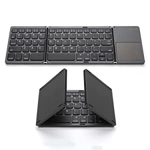 Foldable Bluetooth Keyboard, Jelly Comb Pocket Size Portable Mini BT Wireless Keyboard with Touchpad for Android, Windows, PC, Tablet, with Rechargable Li-ion Battery