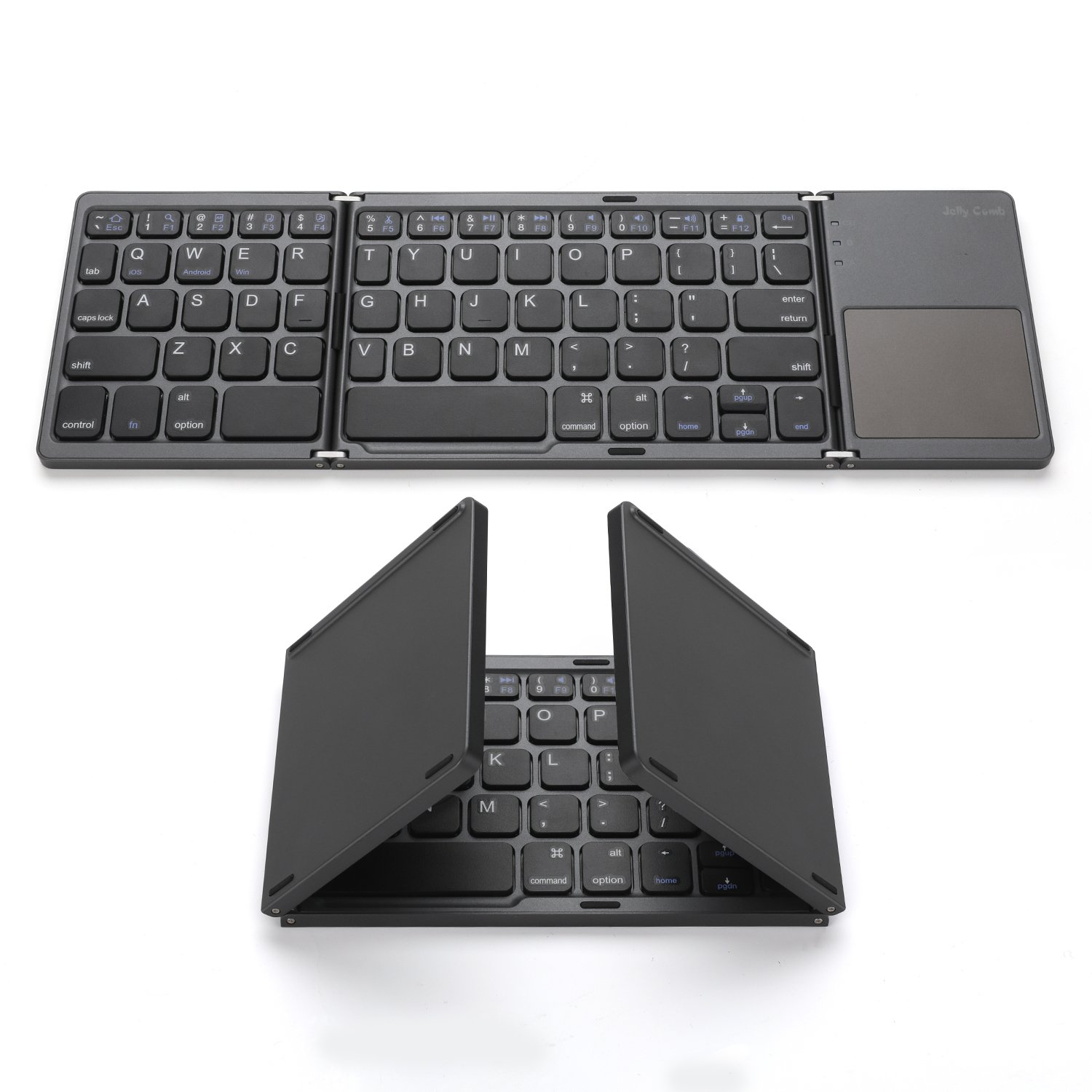 Foldable Bluetooth Keyboard, Jelly Comb Pocket Size Portable Mini BT Wireless Keyboard with Touchpad for iOS, Android, Windows, PC, Tablet, with Rechargable Li-ion Battery by Jelly Comb