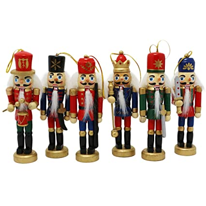 naimo set of 6 christmas wooden nutcracker soldier with weapon ornament decoration for home christmas gift