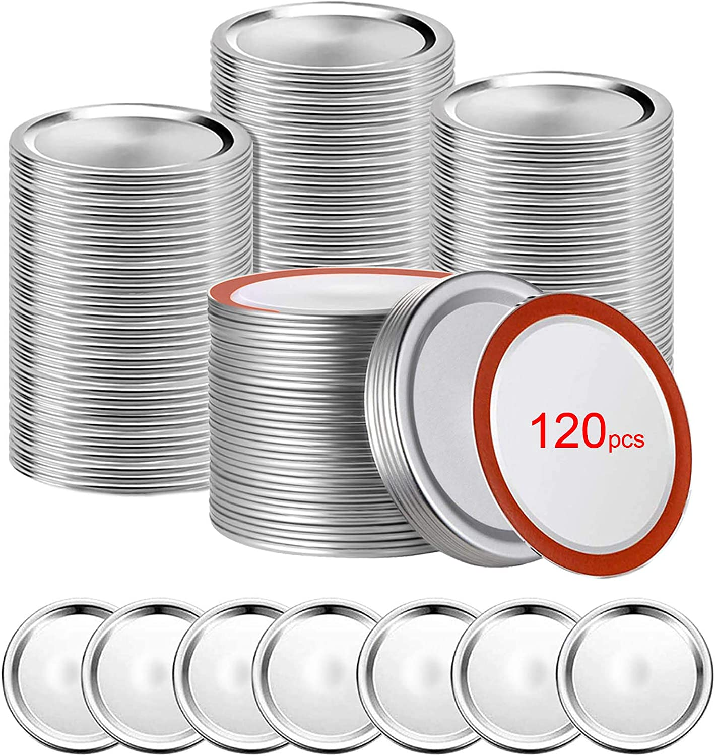 Canning Lids,120 PCS Mason Jar Lids,Regular Mouth Canning Lids,Premium Metal Lid Split-Type with Airtight Seal and Leak proof,Use for Home Canning & Food Storage (Silver, 120)