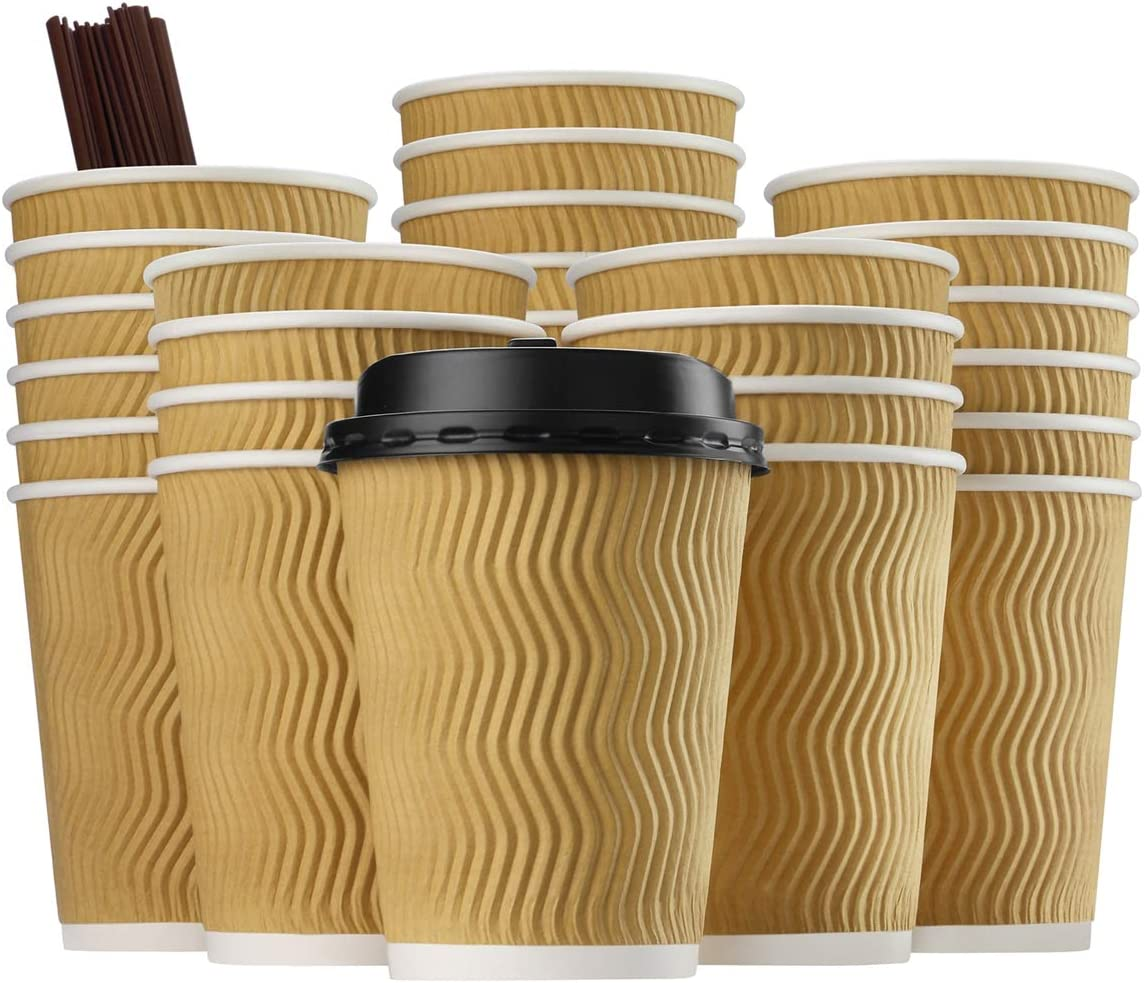 Eupako 12 oz Disposable Coffee Cups with Lids and Straws 80 Set, Insulated Corrugated Sleeve Paper Hot Drink Cups To Go, Perfect for Hot and Cold Drinks (Natural)